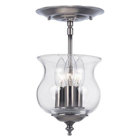 - Semi Flush Mounts 3 Light With Pewter Glass Brass Candelabra 7 inch 180 Watts - World of Lighting