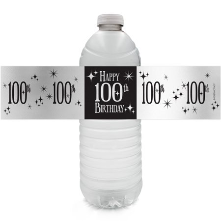 Silver Foil 100th Birthday Bottle Labels - 24ct - Black and Silver Birthday Party Supplies - 24 Count Water Bottle Stickers](100th Birthday Invitations Ideas)