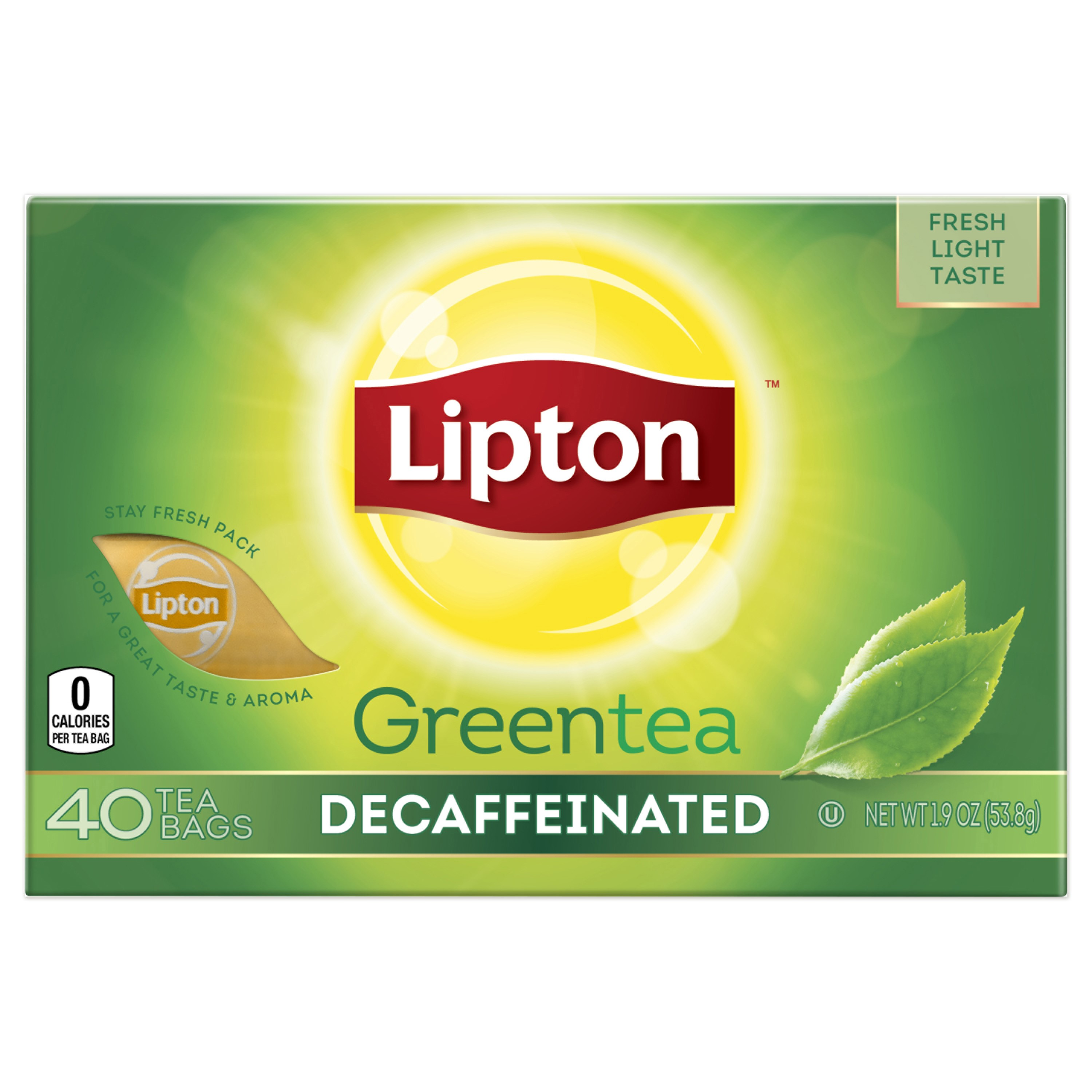 (6 Boxes) Lipton Green Tea Bags Decaffeinated 40 ct
