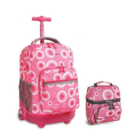 Sunrise Rolling Backpack & Corey Lunch bag Set (Target Pink)