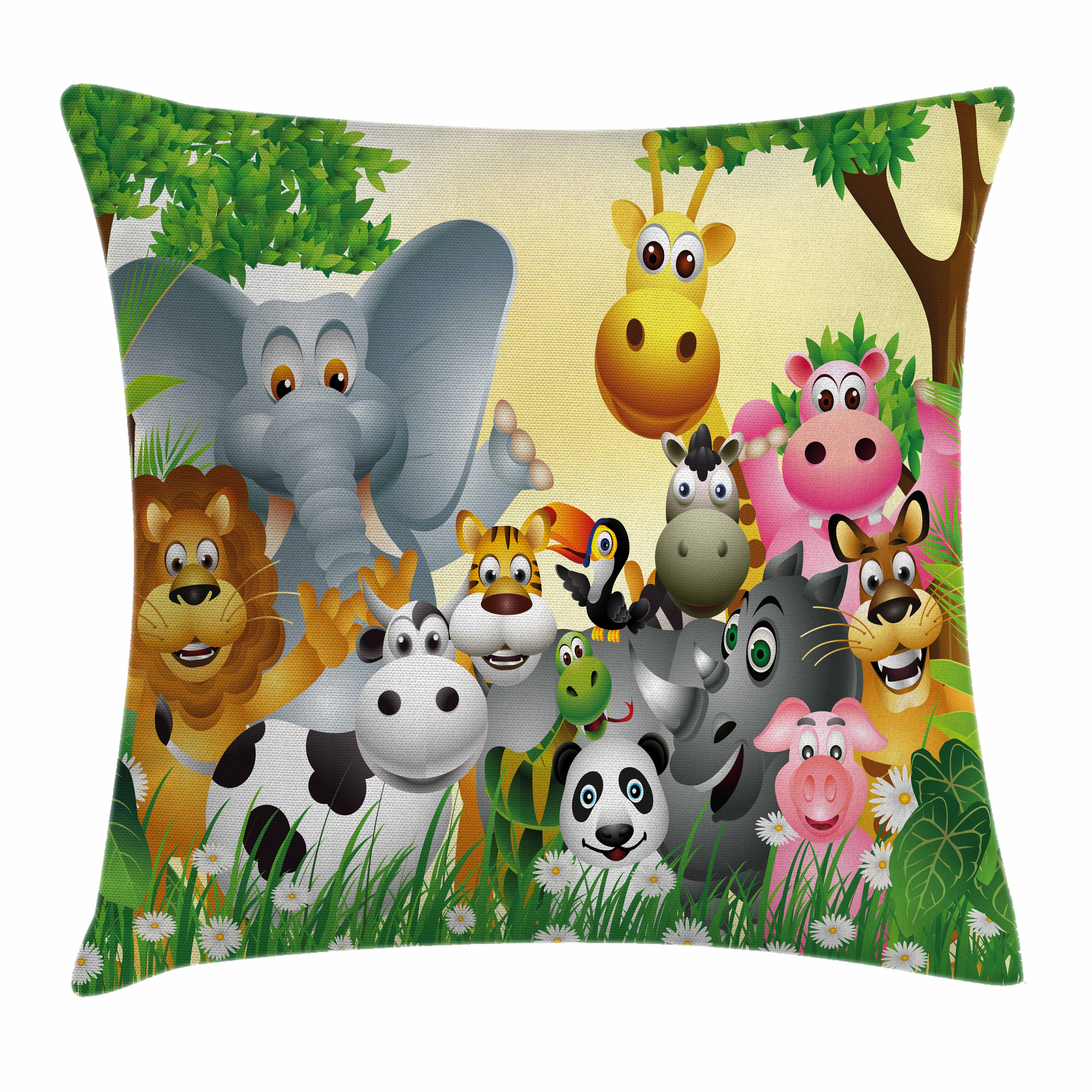 Kids Decor Throw Pillow Cushion Cover, Cute Animals in Jungle Elephant Giraffe Panda Bear Pig Lion Hippo Rhino Cartoon, Decorative Square Accent Pillow Case, 16 X 16 Inches, Multicolor, by Ambesonne
