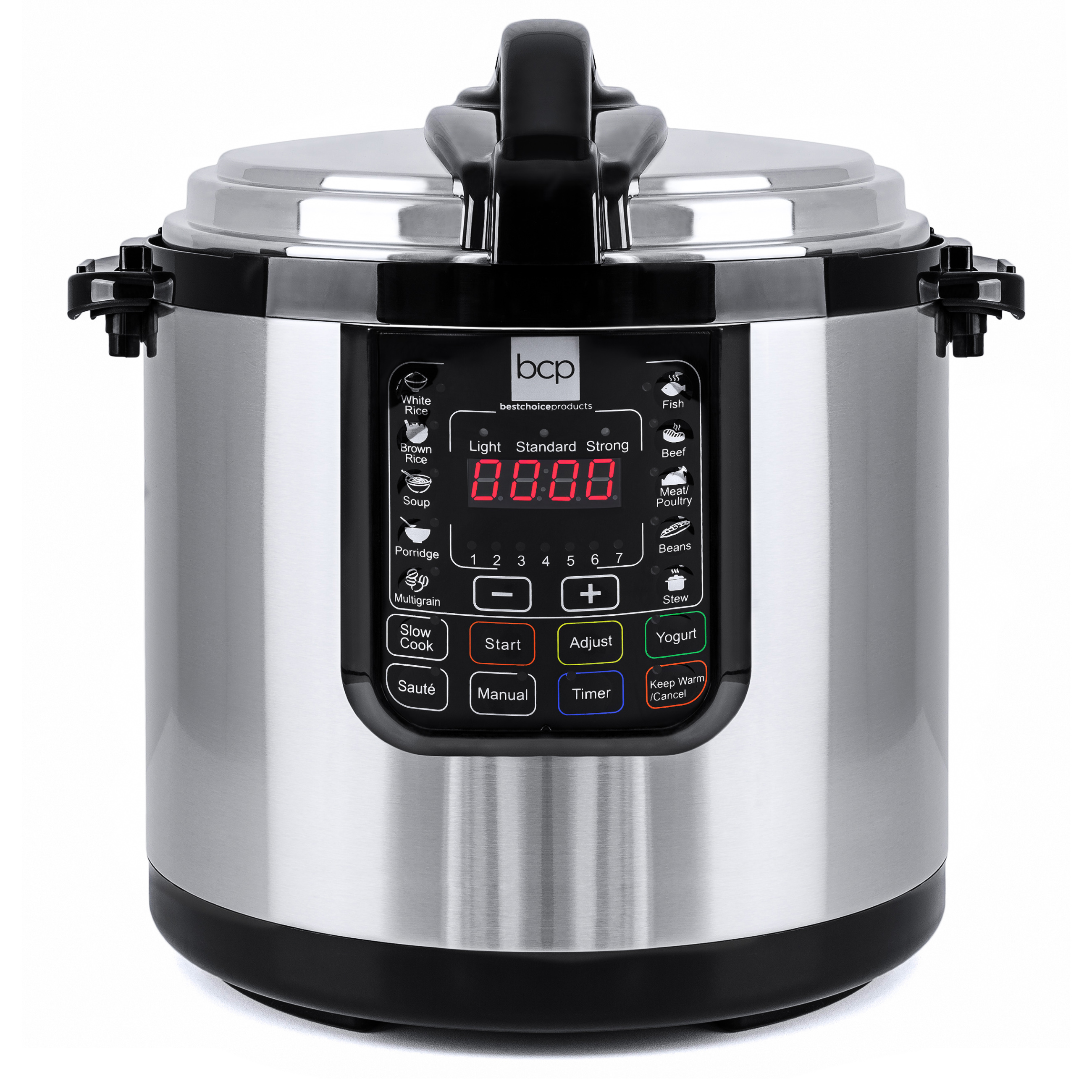 Best Choice Products 12L 1000W Multifunctional Stainless Steel Electric Pressure Cooker w/ LED Display Screen - Silver