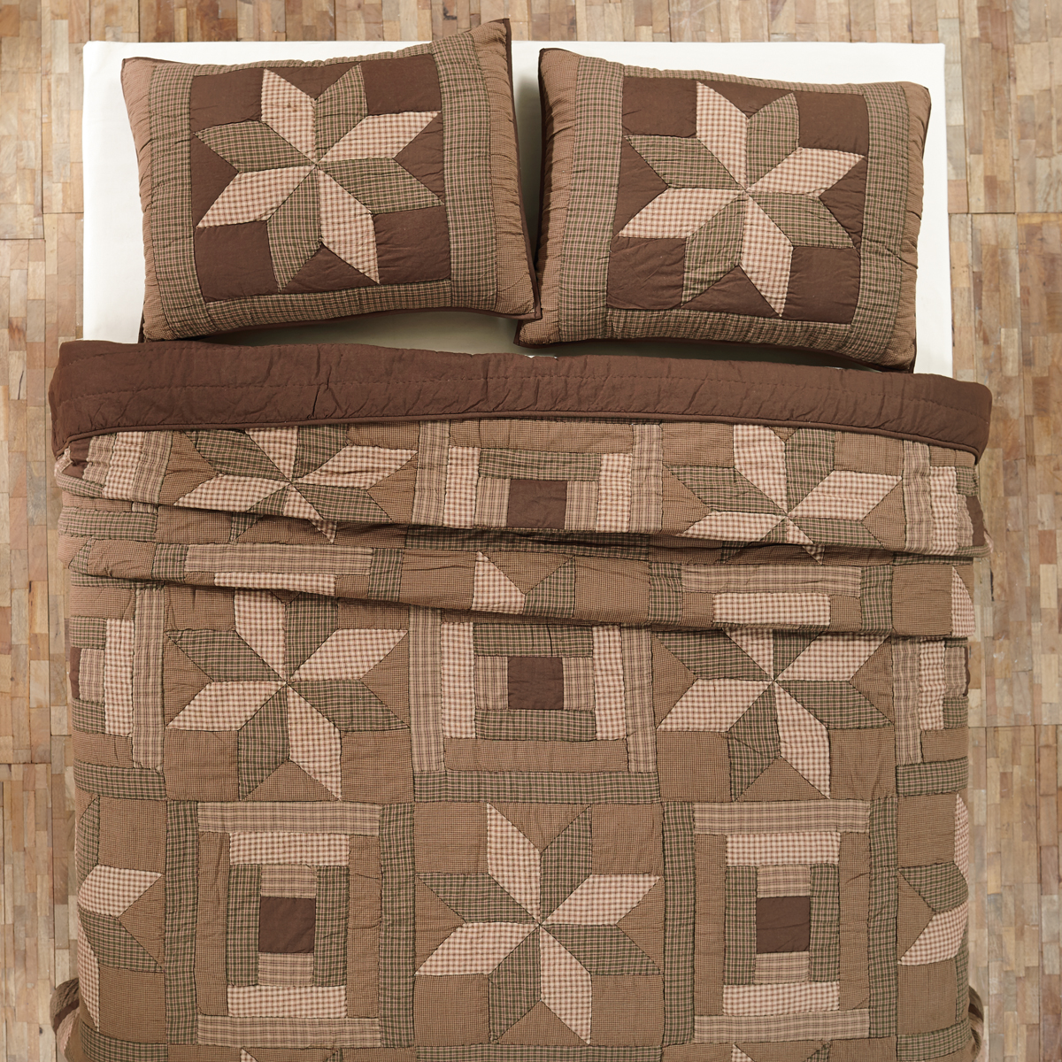 3 Pc Bradley Country Patchwork Quilt Set Queen King Brown