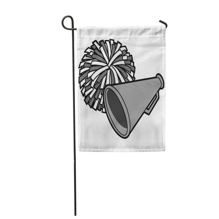 POGLIP Cheerleader Cartoon of Cheerleading Competition Megaphone Pom School Sport Garden Flag Decorative Flag House Banner 12x18 inch - image 1 of 1