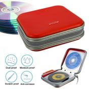 EEEkit Double-side CD DVD VCD Storage Bag Case Organizer Wallet Holder Album Bag Box, 40 Pieces, Red