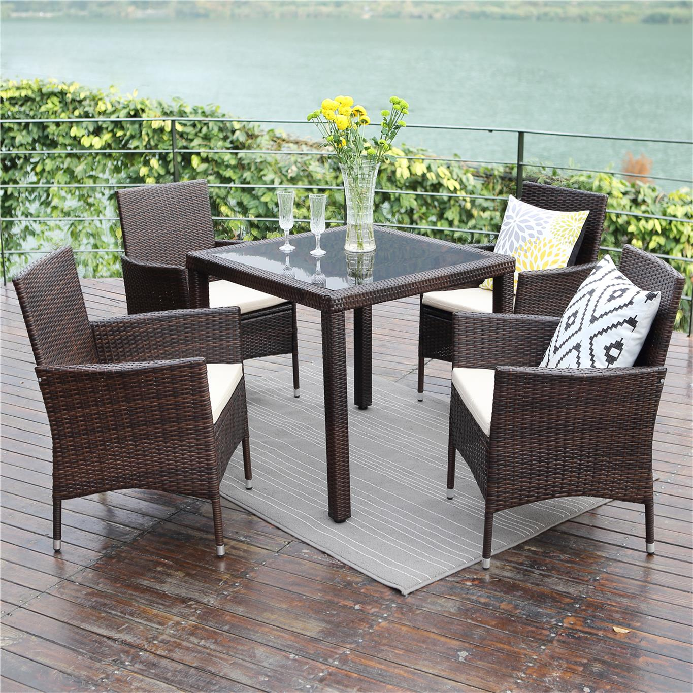 Patio Dining Table Set 5 Piece,Wisteria Lane Outdoor