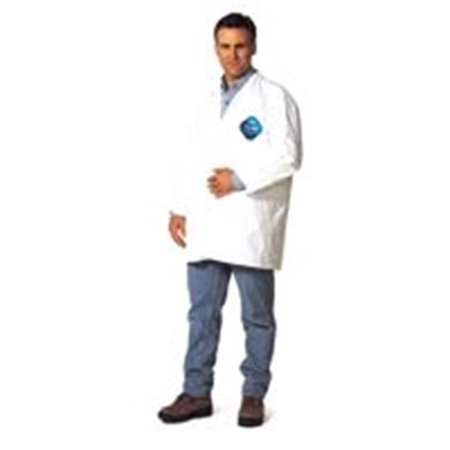 Dupont 251-TY211S-XL Tyvek Lab Coats No Pockets Knee Length, Extra Large, Tyvek Lab