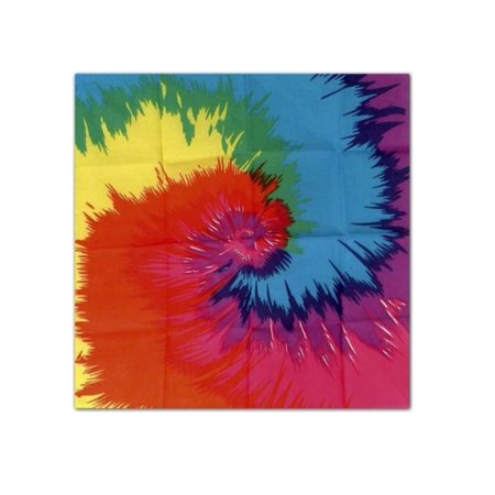 Club Pack of 12 Multi-Color Funky Tie-Dyed 60's Theme Bandana Costume Accessories 22