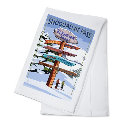 Snoqualmie Pass  Washington   Ski Signpost   Lantern Press Artwork  100  Cotton Kitchen Towel