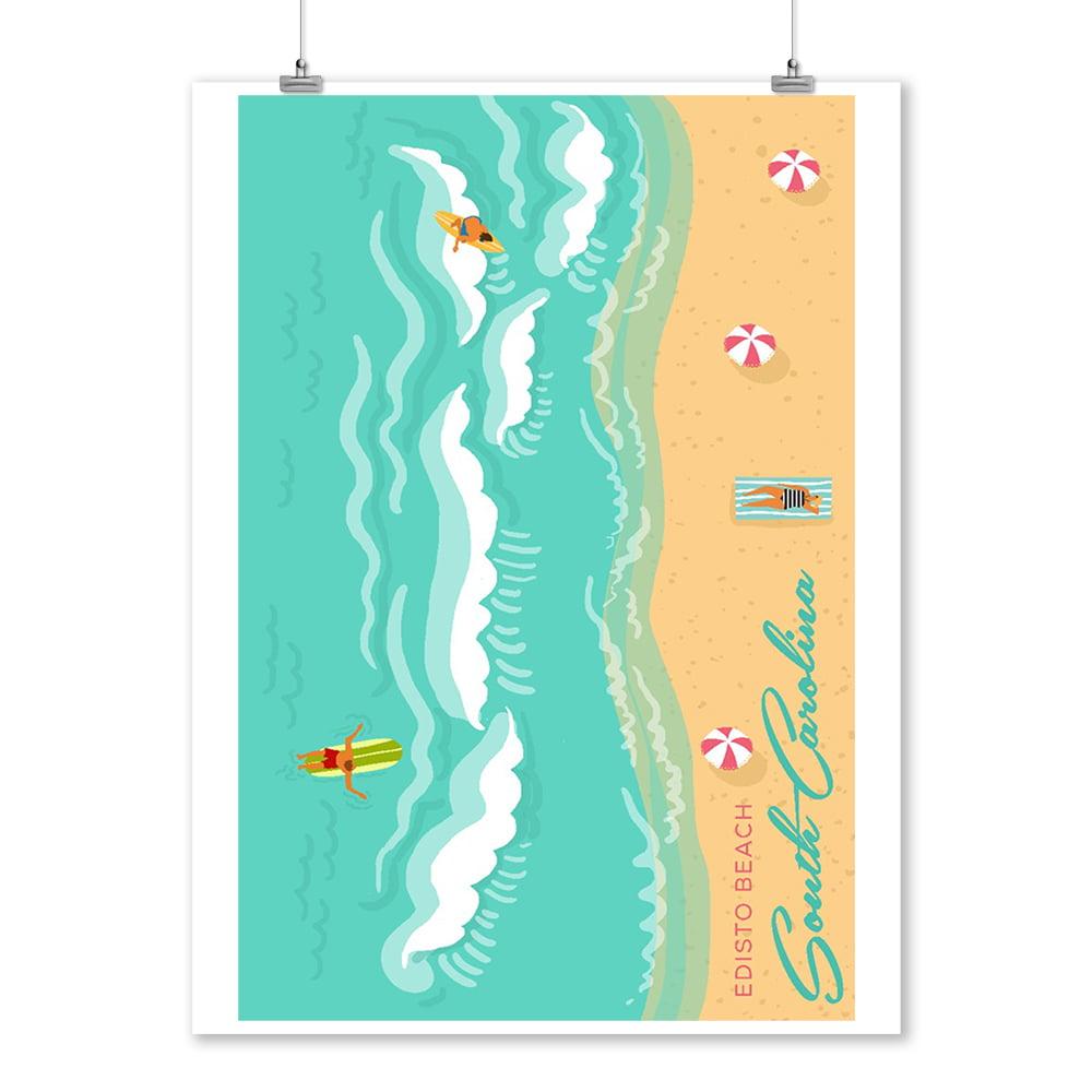 Edisto Beach, South Carolina - Aerial Ocean Scene - Lantern Press Artwork (9x12 Art Print, Wall Decor Travel Poster)