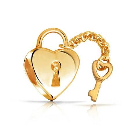 Heart Shape Lock Key Love Charm Bead For Women 14K Gold Plated 925 Sterling Silver Fits European Bracelet