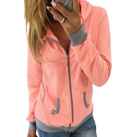 Women's Zip Up Hoodie Sweatshirt Sport Coat Jumper Sweater Long Sleeve Hooded Outwear Pullover Tops (Softball Sports Sweatshirt)