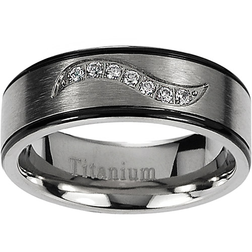Daxx Men's CZ Titanium Black and Gunmetal Ring