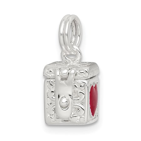 925 Sterling Silver Enameled Heart Prayer Box Pendant Charm Necklace Religious Book Gifts For Women For Her