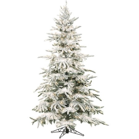 Fraser Hill Farm Unlit 7.5' Mountain Pine Flocked Artificial Christmas Tree