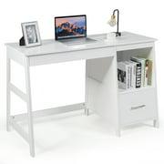 Costway 47.5'' Computer Desk Trestle Desk Writing Study Workstation w/ Shelf & 2 Drawers