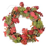 "18"" Autumn Harvest Acorn, Berry and Burlap Rustic Thanksgiving Wreath - Unlit"