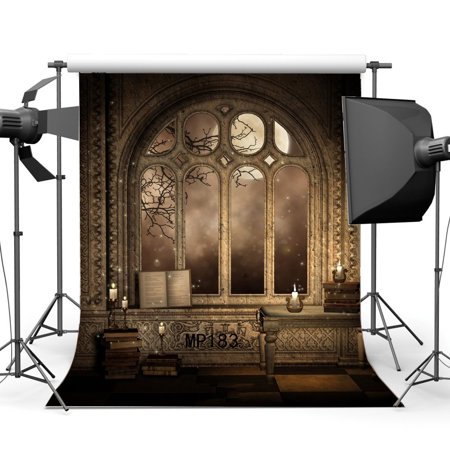 GreenDecor Polyster 5x7ft Gothic Backdrop Happy Halloween Horror Night Magic Books Candles Shining Moon Arch Window Gloomy Damask Wallpaper Grunge Photography Background Masquerade Photo Studio Props (Universal Studios Halloween Horror Nights)
