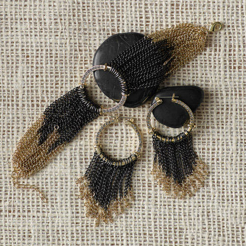 2-Piece Black and Gold Tone Mesh Bracelet and Earrings Set by Isabella Lazarte for Full Circle Exchange