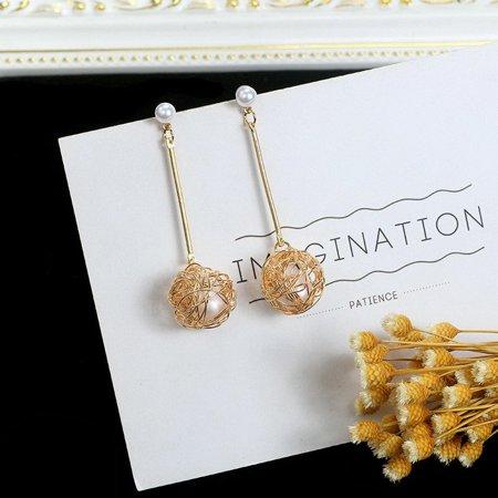 Korean Wound Wire Ball Ear Studs Ear Nails Alloy Earrings Women Fine Jewelry - image 4 de 4