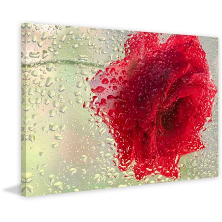 Marmont Hill  Red Rose In A Light Rain  Painting Print On Canvas