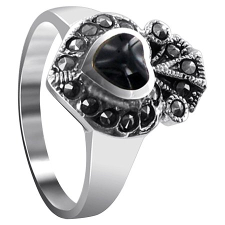 Black Onyx Gemstone Ring (Gem Avenue 925 Sterling Silver Black Onyx Heart Ring)