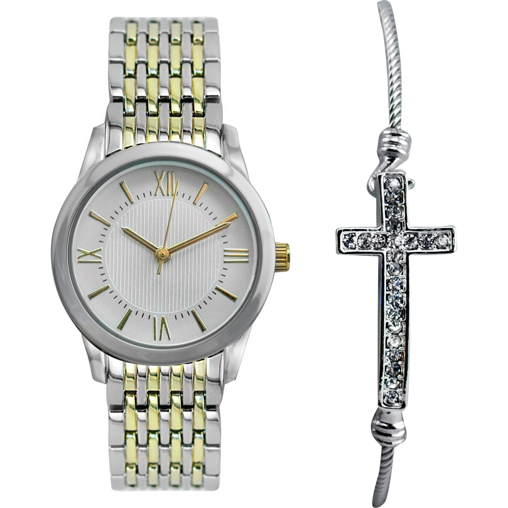 "Women's Two-Tone Watch Set with ""Cross"" Bracelet"