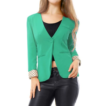 Women's Long Sleeves One Button Padded Shoulder Casual Cropped Blazer Jacket Orange (Size M / 10) Green XS (US 2) - Kids Green Blazer