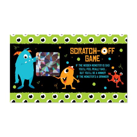Monster Bash - Little Monster Birthday Party or Baby Shower Scratch Off Cards - 22 Count (Baby Shower Scratch Off)