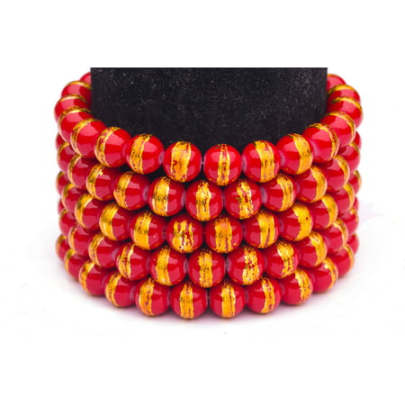 Red Gold Foiled Glass Pearls 8mm Round Sold per pkg of