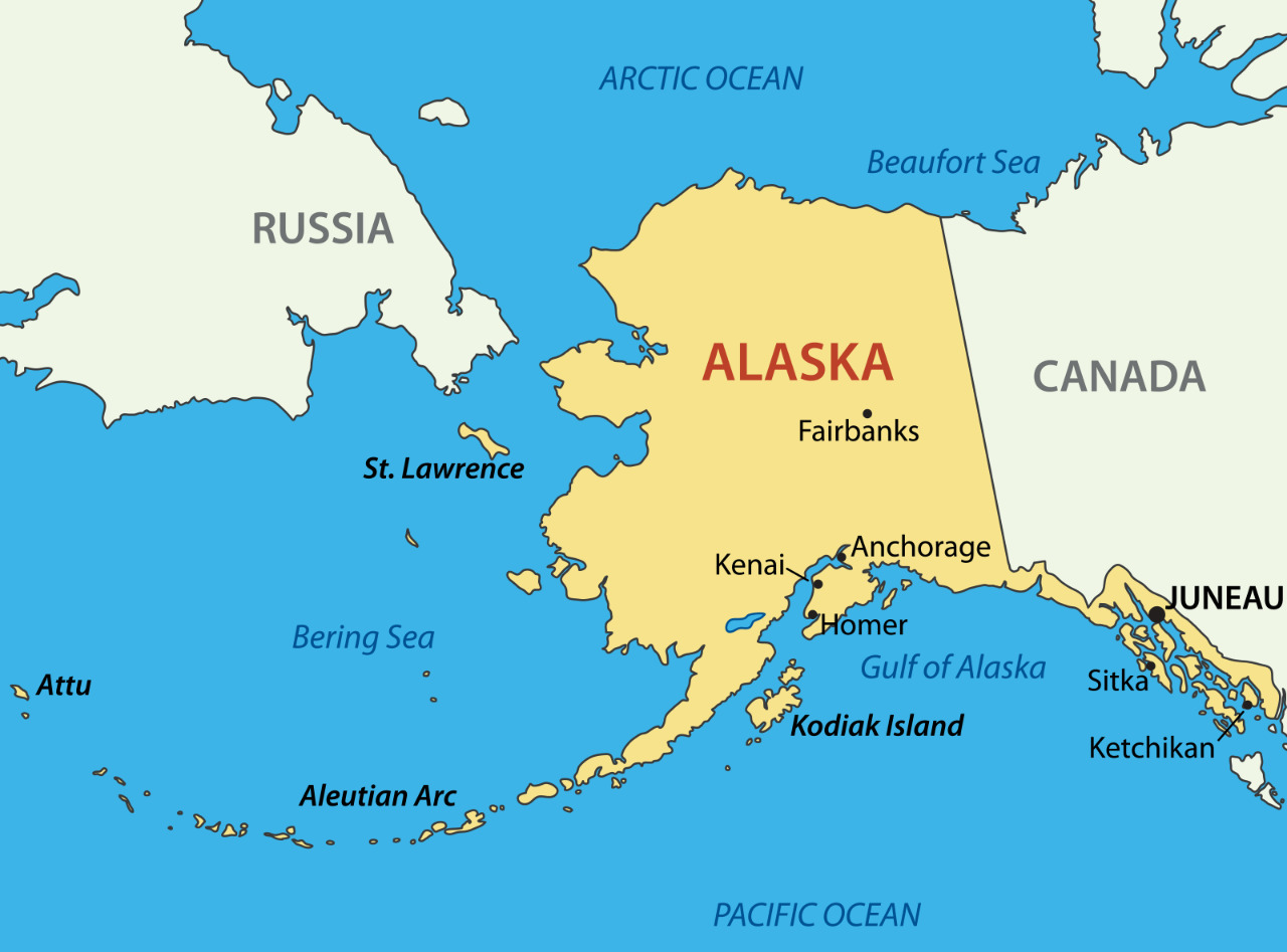 Where Are Canada And Russia On The Map Alaska State Map Russia Canada City 12 Inch BY 18 Inch Laminated