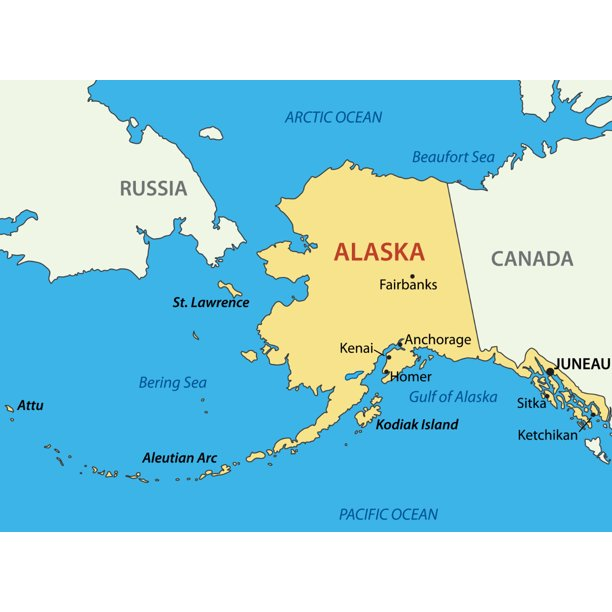 Canada Map And Alaska Alaska State Map Russia Canada City 12 Inch BY 18 Inch Laminated