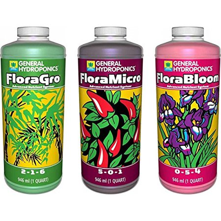 Flora Series Advanced Plant Nutrient System for Enhanced Yields & Crop (General Hydroponics Nutrients)