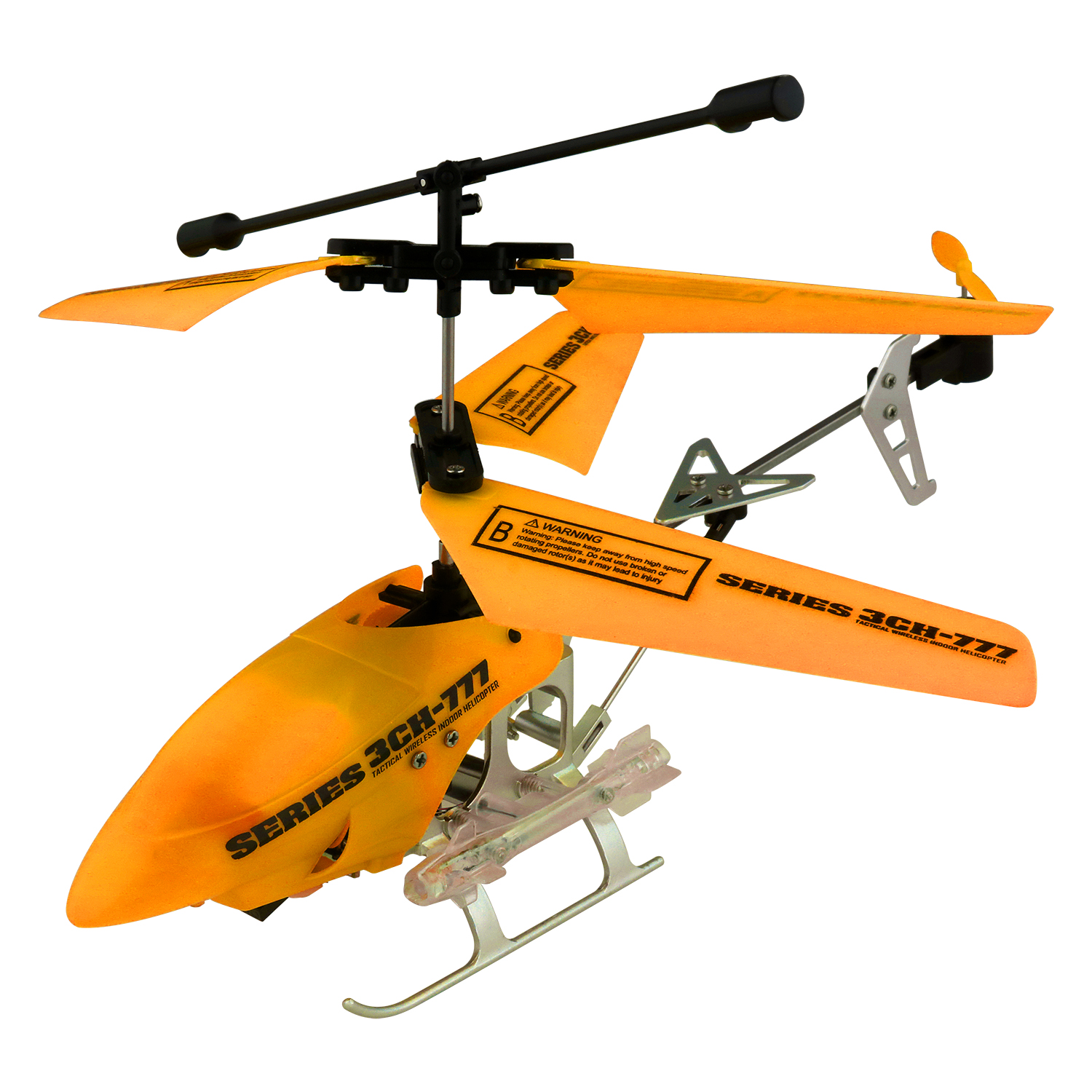 Series 3CH-777 7.5-Inch Tactical Wireless Indoor RC Gyro Helicopter, Neon Orange