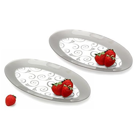 Fused Glass Platters - GAC Tempered Glass Oval Platter Serving Tray and Decorative Plate Set of 2 Unbreakable - Chip Resistant - Oven and Microwave Safe - Dishwasher Safe - Stackable