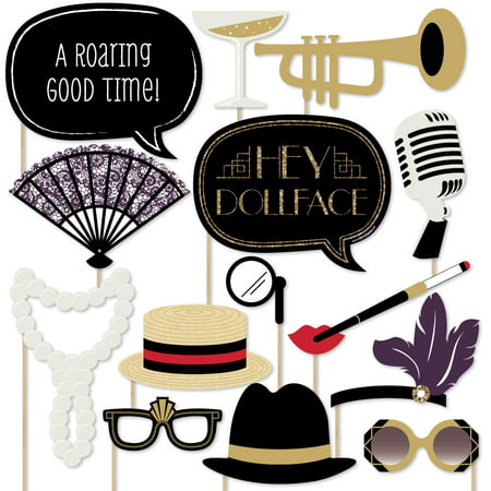 Roaring 20's - Twenties Art Deco Jazz 1920s Photo Booth Props Kit - 20 Count](Photo Boot Props)