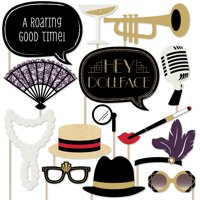 Roaring 20's - Twenties Art Deco Jazz 1920s Photo Booth Props Kit - 2020 New Year's Eve Party - 20 Count