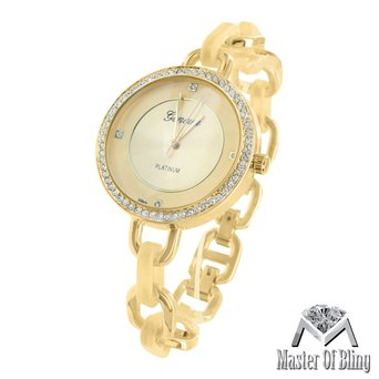 Womens Bracelet Band Watch Geneva 14k Solid Gold Plate Designer Platinum Vintage