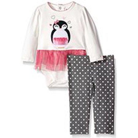 Hartstrings Infant Girls 2 Piece Penguin Tutu Leggings and Bodysuit Set (6-9 (Hartstrings Ladybug)