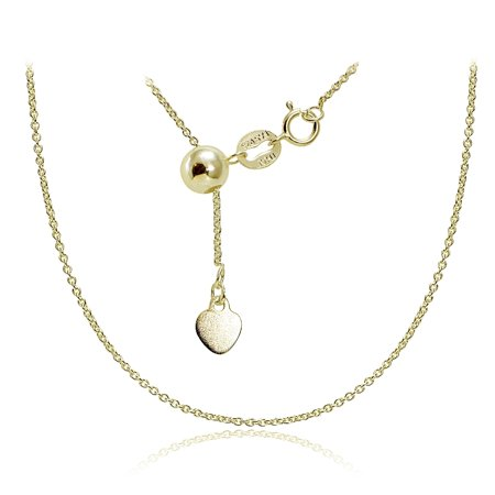 - Gold over Sterling Silver 1.5mm Rolo Adjustable Chain Necklace 20