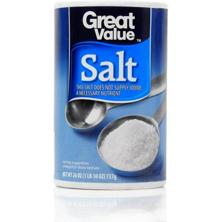 (2 pack) Great Value Salt, 26 oz
