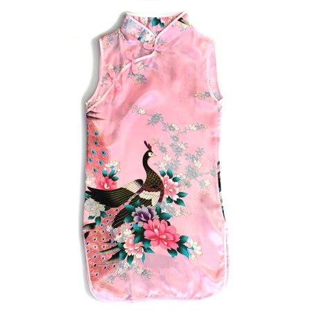 Girl Traditional Chinese Qipao Dress With Peacock Lunar New - Peacock Themed Dresses