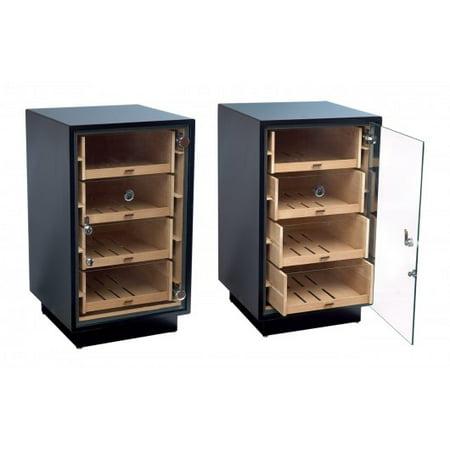 Black Finish Humidor - Manchester Contemporary Upright Counter Display Cigar Humidor - Matte Black Finish - Capacity: 250