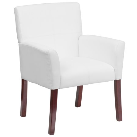 White Leather Executive Office Side Chair with Mahogany Finished Legs