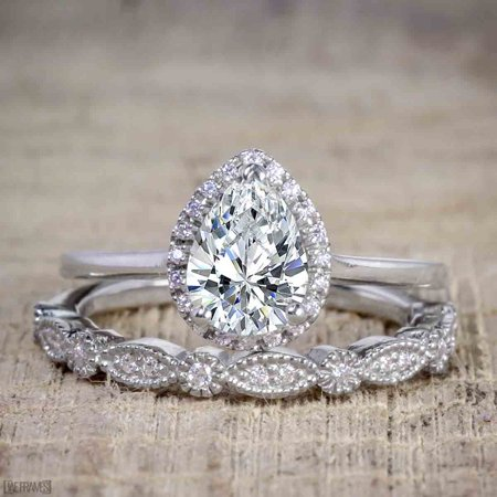 Round Moissanite Wedding Set (Affordable 2 Carat Pear cut Moissanite and Diamond Antique Wedding Ring Set in 18k White Gold Over Silver)