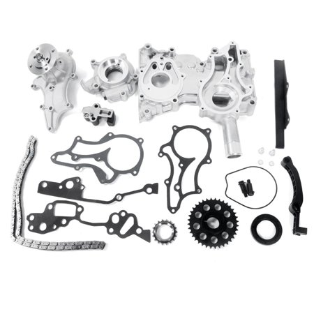 Ktaxon Timing Chain Kit w/ Oil Water Pump Steel Guides Cover Fits 85