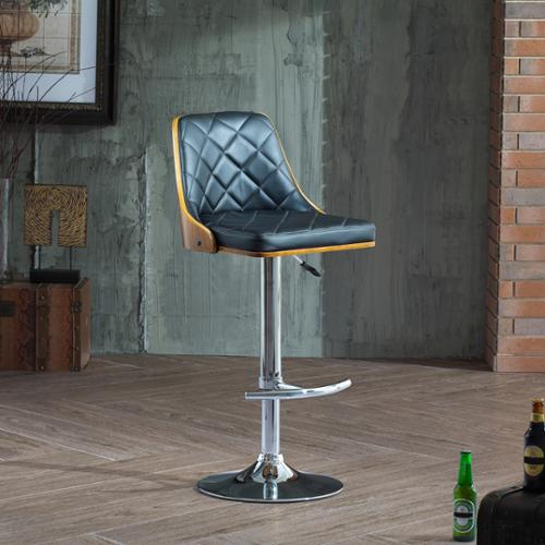 Corvus Quilted Walnut Bar Stool with Chrome Base