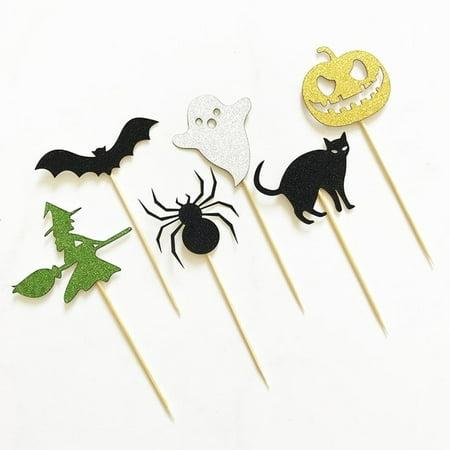 cnmodle Halloween Spider Pumpkin Cat Elf Ghost Cake Toppers Halloween Cupcakes Flags](Halloween Cupcakes Ideas Spider)