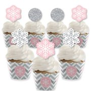 Pink Winter Wonderland - Cupcake Decoration - Holiday Snowflake Birthday Party and Baby Shower Cupcake Wrappers and Treat Picks Kit - Set of 24