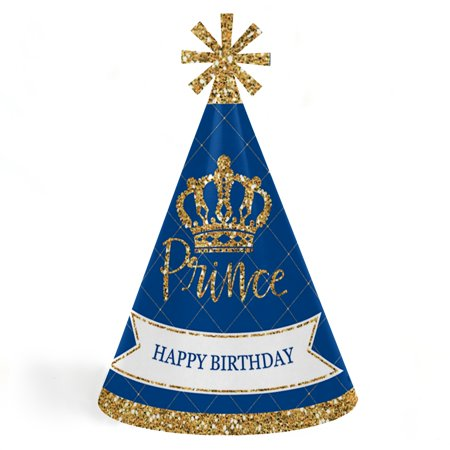 Royal Prince Charming - Cone Happy Birthday Party Hats for Kids and Adults - Set of 8 (Standard Size)